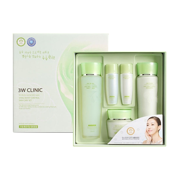 [3W CLINIC] УЛИТОЧНЫЙ МУЦИН/НАБОР для лица Snail Moist Control Skin Care 3SET